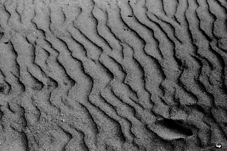 Ripples In The Sand Black & White Backgrounds Beach Blackandwhite Full Frame Landscape Pattern Sand Textured