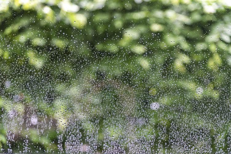 Full frame shot of wet glass during rainy season