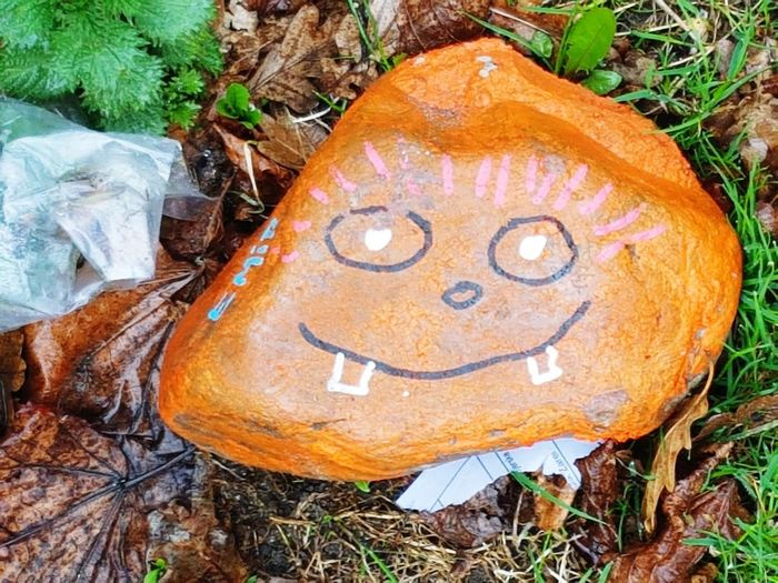 Stone Happy Anthropomorphic Face High Angle View Art And Craft Human Representation Creativity Close-up Grass Smiley Face Drawing - Art Product