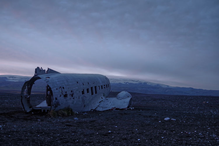 Plane Wreck in Iceland Sky Abandoned Land Airplane Air Vehicle Obsolete Damaged Cloud - Sky Crash Nature Scenics - Nature Environment Travel History Transportation Accidents And Disasters Mountain Beauty In Nature Mode Of Transportation Old No People Deterioration Ruined Iceland Memories Iceland Mood