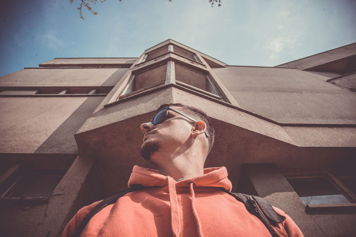 Architecture Building Exterior Built Structure Canon Canon_photos Canonphotography Day Low Angle View One Man Only One Person Only Men Outdoors People Retro Retro Style Retro Styled Sky