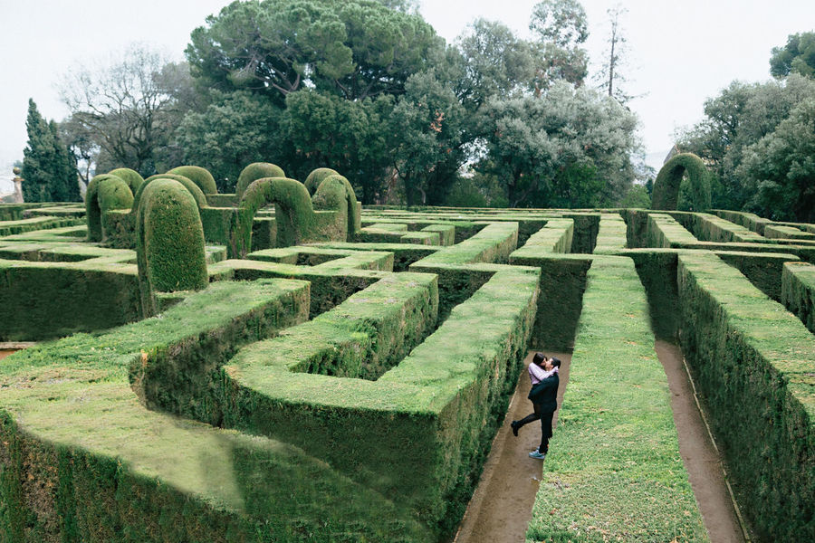 Adult Complexity Day Formal Garden Full Length Green Color Hedge Maze One Person Outdoors Parc De Laberint D'horta Park - Man Made Space People Tree