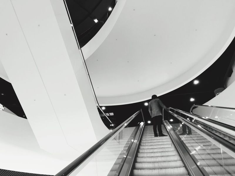 Birmingham Library Escalator White Black And White Modern Birmingham Library Books