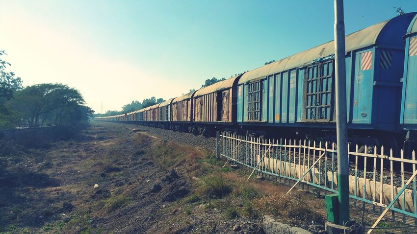 Outdoors Clear Sky No People Day Freight Transportation Freight Train Cargo Container Mode Of Transport Railroad Track