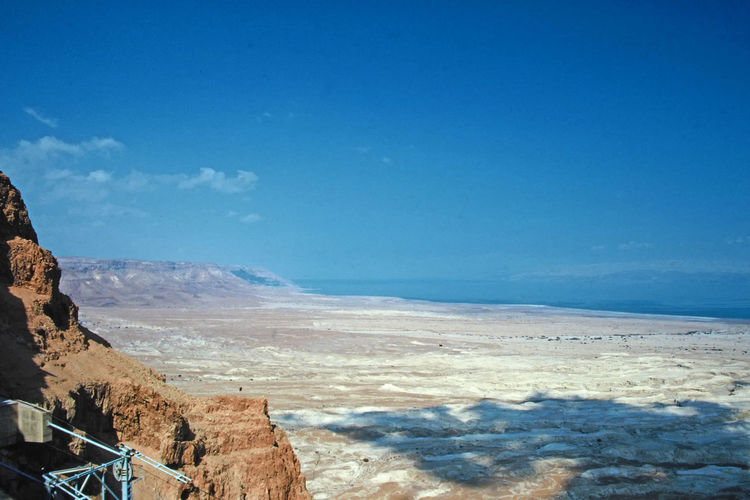 The view from the top of Masada looking down on the Dead Sea - Israel Sea Water Nature Sky Blue Day Outdoors Tranquility Mountain Scenics Beauty In Nature No People Blue Sky White Clouds Tranquil Scene Dead Sea View Masada. Israel Israeli Desert A Taste Of Israel Lofty View Perspectives On Nature Colour Your Horizn