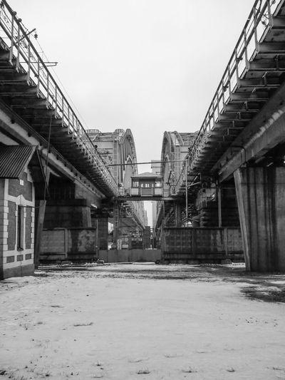 Finland Bridge Architecture Historic Black And White Vanishing Point