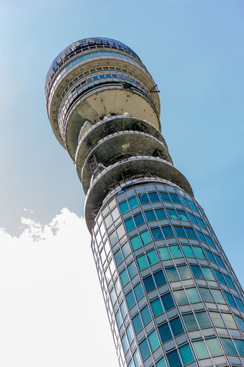 BT Tower Architecture Blue Building Exterior Built Structure City Clear Sky Day Low Angle View Modern No People Outdoors Sky Skyscraper Travel Destinations