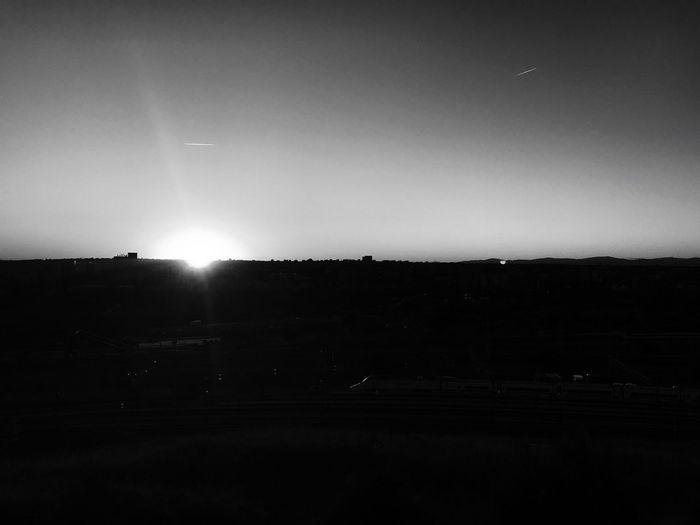Madrid Sunrise_sunsets_aroundworld Outdoors No People Sunrise Dark Sunset_collection Sunset Dawn Black And White