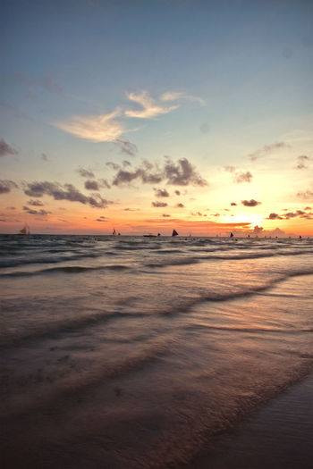 Beach Beach Photography Beauty In Nature Boracay Boracay Philippines Nature Neozeke Philippine Beaches Scenics Sea Sunrise Sunrise_Collection Sunset Sunset_collection Water