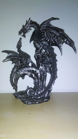 Dragon Baby Dragon Decoration Déco Statuette Baby Mom Fire Dragon Medieval Gothic Goth Black