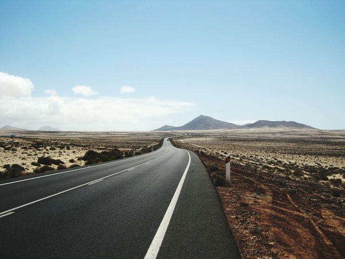 Vulcanic Landscape Vulcano Island Lanzarote-Canarias Desert Road Mountain Arid Climate Sky Landscape Cloud - Sky Mountain Road Country Road White Line