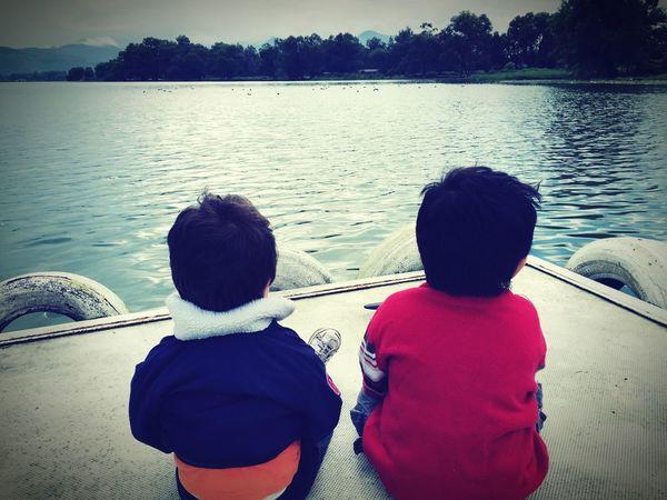 My little kids loving nature!! Amatitlan Lake Guatemala