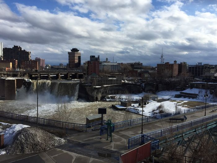 The Roll Top 10 Countdown #9 ... View of Upper Falls of the Genesee River from Genesse Brewery... this was taken during my milestone birthday celebration with my two older children in March 2015 ... Iphone 6 Genesee River High Falls Rochester, NY Genesee Brewery No Edit/no Filter No Filter, No Edit, Just Photography Roll Score 95%