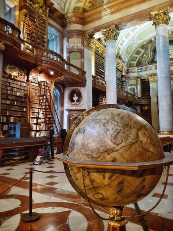 Indoors  Reflection Day Architecture Built Structure No People Library Globe Books Grandiose Vienna Austria
