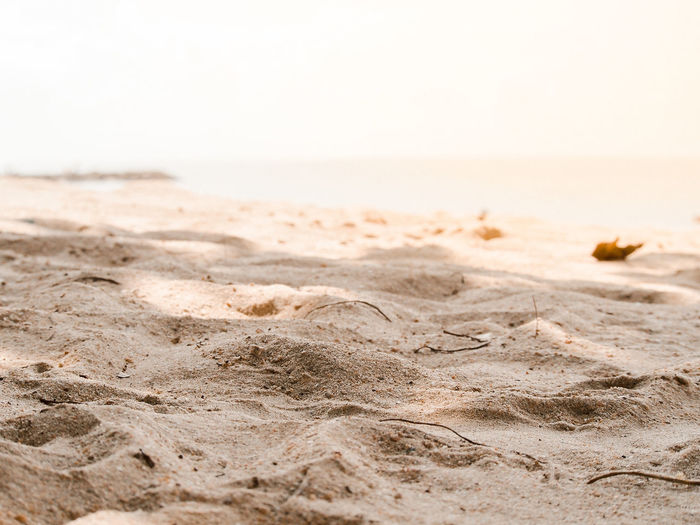 Surface level of sand on beach against clear sky
