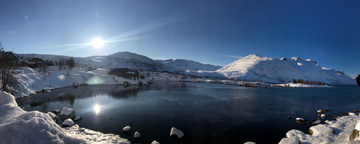 Scenic view of frozen lake in the arctic cirlce