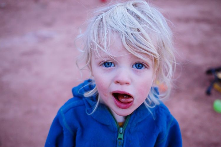 Bedhead Toddler  Boy EyeEm Selects Portrait Child Childhood Headshot One Person Looking At Camera Innocence Mouth Open Real People Blue Offspring