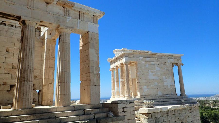 Clear Blue Mediterranean Acropolis, Athens Ancient Civilization Ancient Greece Athens, Greece Blue Sky Greece Mediterranean  Pillars Sea And City View White Stone First Eyeem Photo