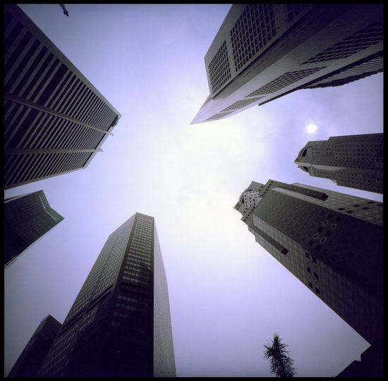 Singapore High Rise ASIA Analogue Photography Architecture Cityscape Lomography Singapore Travel Urban Maze Art Concrete Layers Looking Up Medium Format Metropolis No People Peaks Skyscraper Slide Summer Tiger State Up Urban Water
