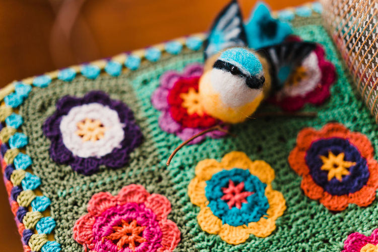 Christmas Decoration Christmas Decoration Christmas Festive Decoration Multi Colored Textile Close-up Wool Indoors  Art And Craft Creativity No People Craft Pattern Animal Themes Animal Crochet Representation Toy Blue Focus On Foreground Animal Representation Turquoise Colored Floral Pattern