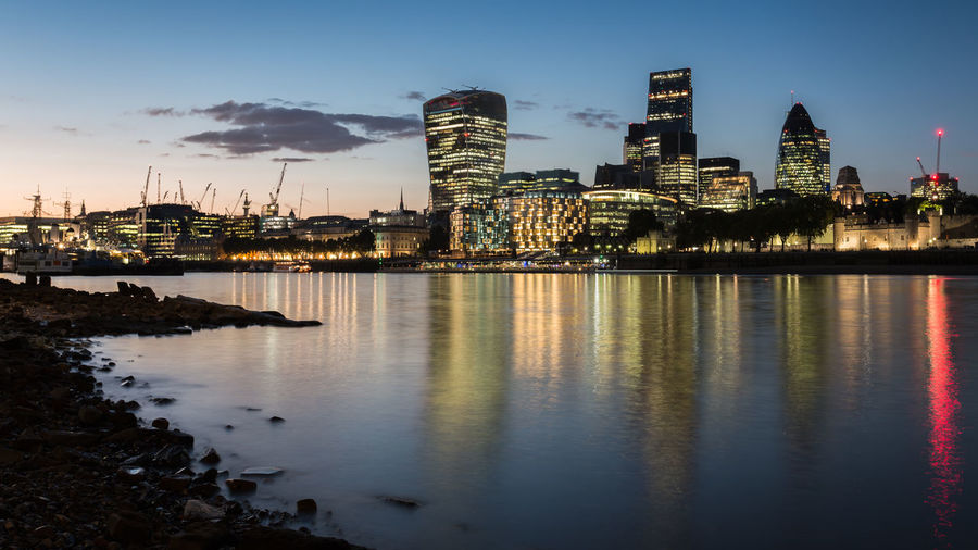 City twilight Architecture Building Exterior Built Structure Capital Cities  City City Of London Cityscape Dusk Dusk In The City England Europe London Long Exposure Outdoors Reflection River River Thames Seeing The Sights Travel Destinations Twilight Uk Water Waterfront