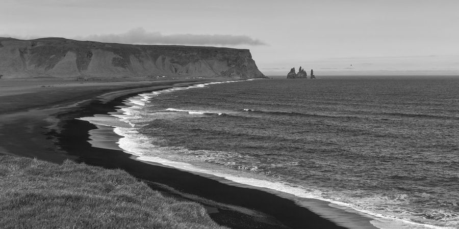 Beach Beauty In Nature Cliff Day Horizon Over Water Iceland Nature No People Outdoors Rock - Object Rock Formation Sand Scenics Sea Sky Tranquil Scene Tranquility Travel Destinations Water Wave