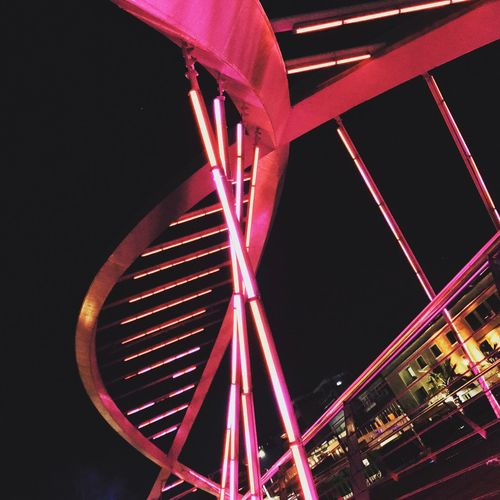 Low Angle View Night Built Structure No People Outdoors Architecture Amusement Park Sky Light Red Bridge Night Nights  IPhone IPhone7Plus Yalovasahil Yalova Turkey Türkiye (null)Streetphotography City Steel