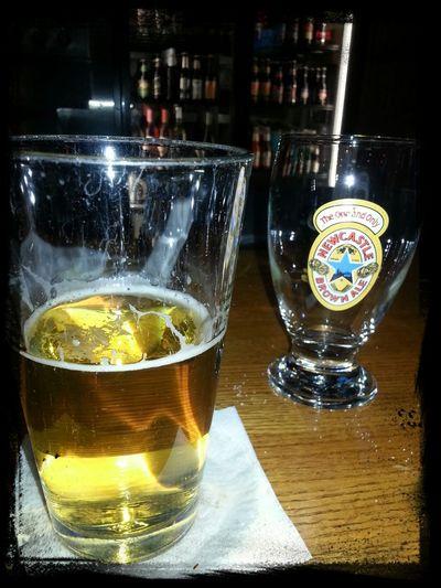 Enjoyin a beer.
