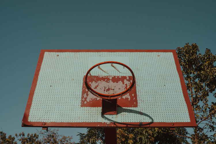 BBall Copy Space Relaxation Outdoors Leisure Games Sport Basketball Hoop Basketball - Sport Net - Sports Equipment Sky No People Day Blue Shape Sports Equipment Geometric Shape Nature Clear Sky Low Angle View Plant Red Streetphotography Bball