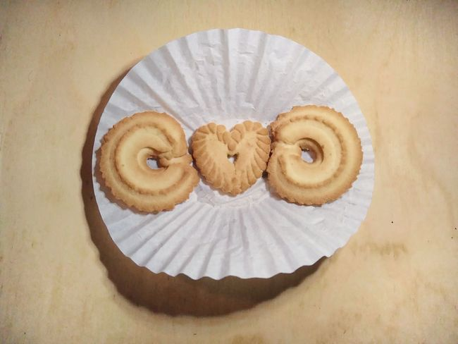 Three butter cookies. Treat Absence Golden Trio Wood - Material Wooden Background Wooden Texture Three Objects Coffee Filter Cookies Heart-shaped Heart Design Butter Cookies Dessert EyeEm Selects Sweet Food Food And Drink Indoors  Food No People Ready-to-eat Close-up Day Wooden