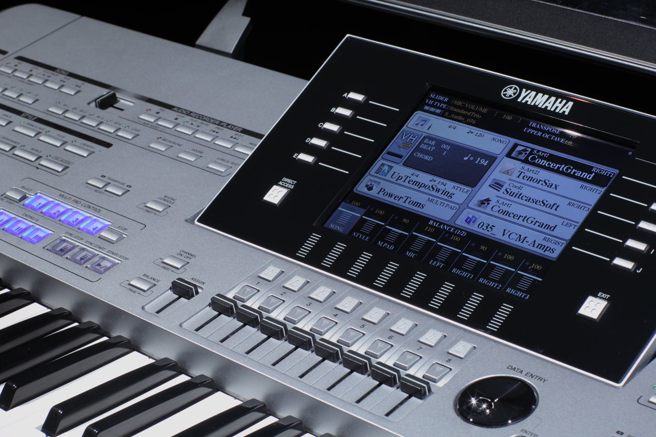 technology, music, connection, indoors, wireless technology, laptop, communication, sound recording equipment, arts culture and entertainment, computer keyboard, recording studio, no people, sound mixer, musical instrument, close-up, keyboard, day