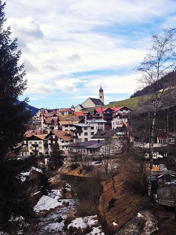 TOWNSCAPE Town Tower Südtirol Village South Tyrol Italy Church View Nova Levante Welschnofen Nature