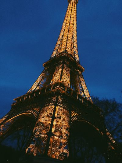 No People Light Night France Paris Effel Tower Low Angle View Tower Sky Architecture Tall - High Travel Destinations Built Structure No People Travel