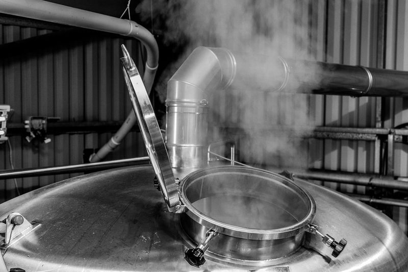 Brewery Brewing Beer Brewing Beer Brewery EyeEm Selects Metal No People Indoors  Close-up Factory Focus On Foreground Smoke - Physical Structure Pipe - Tube Built Structure Day Water Preparation  Manufacturing Equipment Stainless Steel  Still Life Industry Architecture Motion