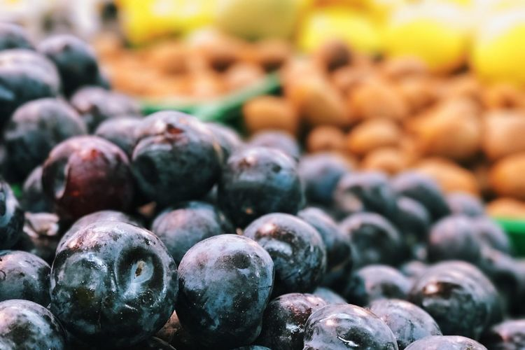 Close-up of blueberries for sale at market