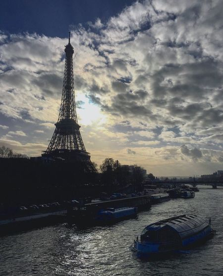 Paris Tourism International Landmark Famous Place Travel Destinations Water Tower Eiffel Tower Nautical Vessel River Travel Architecture Capital Cities  Built Structure Culture Tall - High Boat Transportation City Waterfront Sky