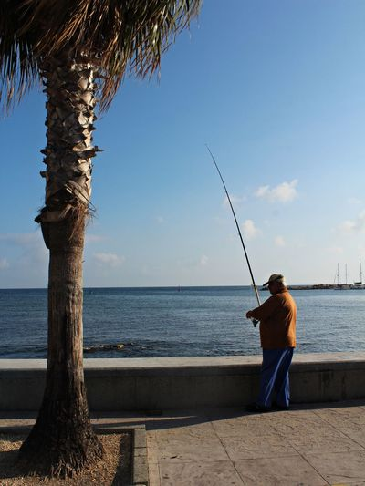 Fishing Water Rear View People Sea Fisherman Photographing Traveling Blue Cyprusexploring Cyprous Photography Photographer Photographylovers Photographie