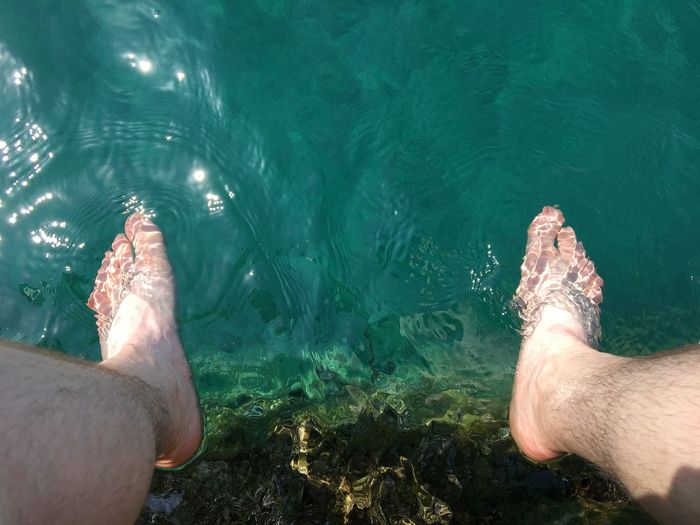 Human Foot Lifestyles Sea Water