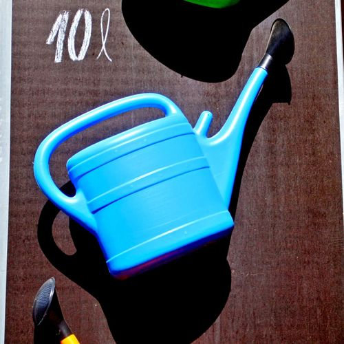 Blue No People Still Life Plastic Day Shadow Work Tool Gardening Equipment Watering Can