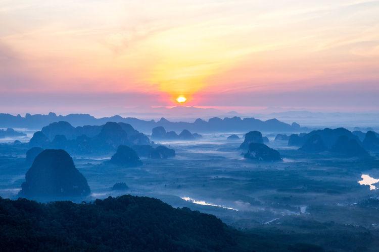 Sunrise Nature No People Landscape Fog Hazy  Mountain Peak Scenics - Nature Beauty In Nature Sky Thailand Krabi Hiking