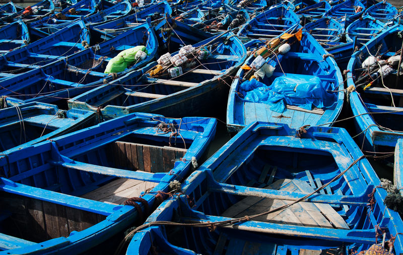 High angle view of fishing boats moored in water