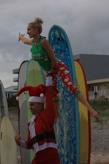 Acrobats Surfing Santas Cocoa Beach, Florida Surf Boards Acrobatics  Acrobats Happiness Smiling Beach Photography Lifestyles Beach Performing Arts Event