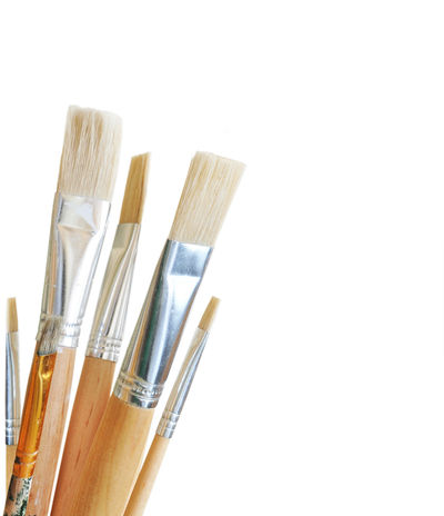 Art Close-up Isolated No People Object Paintbrush Studio Shot Tool White White Background Wood Yellow