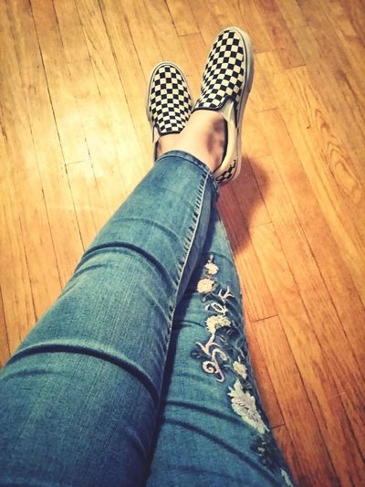 Embroidery Relaxing Legs Patterns Low Section Women Human Leg Hardwood Floor Shoe Fashion High Angle View Jeans Wooden Floor Footwear Legs Crossed At Ankle Denim Canvas Shoe