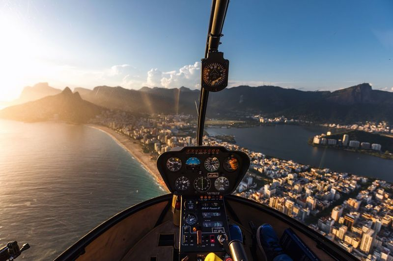 Ipanema beach from a helicopter Water Nature Sea Sky Architecture Built Structure Transportation No People Outdoors Sunlight Building Exterior Travel Destinations Travel Mode Of Transportation City Day Motion Clear Sky Beach