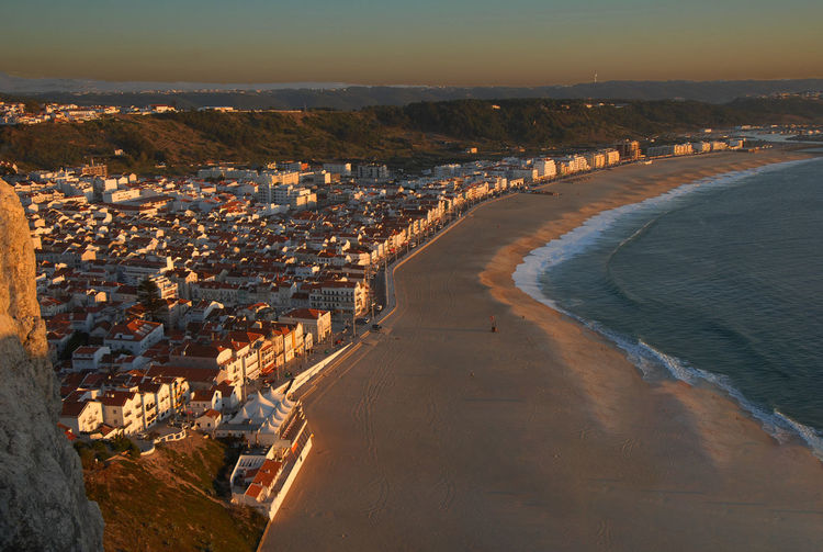 Houses Portugal View Architecture Beach Beauty In Nature Building Exterior City City Nazare Cityscape Day High Angle View Nature No People Outdoors Scenics Sea Sea And Sky Sky Sunset Water