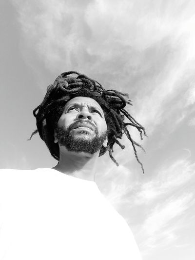 One Man Only Cloud - Sky Only Men Sky One Person Adults Only Low Angle View Adult People One Young Man Only Young Adult Headshot Outdoors Day Beard Men Real People Human Body Part Portrait Tangled Hair RASTA Rastaman Close-up Nature EyeEmNewHere Black And White Friday