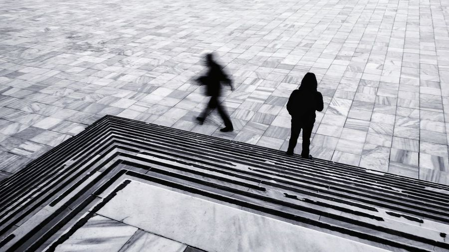 Streetphotography EyeEm Street Photography Silhouette Street Silhouettes Urban Geometry Urbanphotography People Broken Galata Istanbul Full Length Men Winter Shadow City Snow Sunlight Walking High Angle View Cold Temperature Steps And Staircases Stairway Stairs Steps
