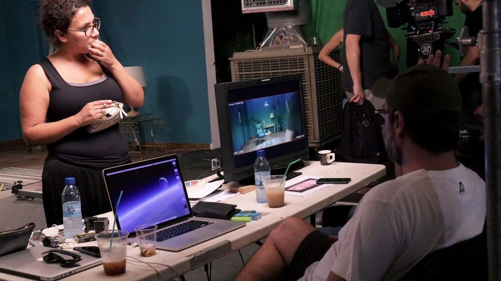 Technology Computer Computer Monitor Desktop Pc Desk Connection Sitting Two People Indoors  Communication Industry Backstage Behind The Scenes Set Filming Film Industry Production Men Occupation Adult Teamwork Women People Real People Adults Only