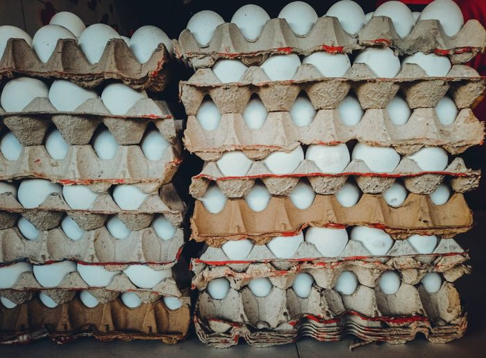Eggs in carton at store for sale